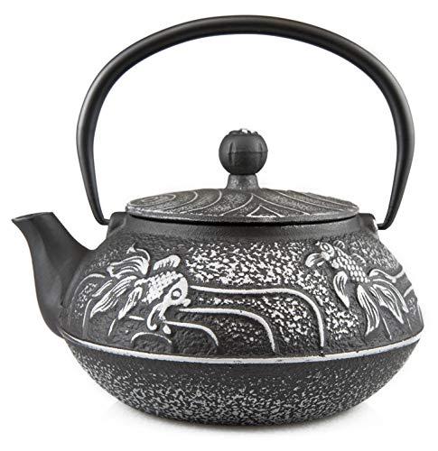 (27 Oz Cast Iron Teapot Japanese Tetsubin Teakettle with Stainless Steel Infuser - Enamel Coated Interior)