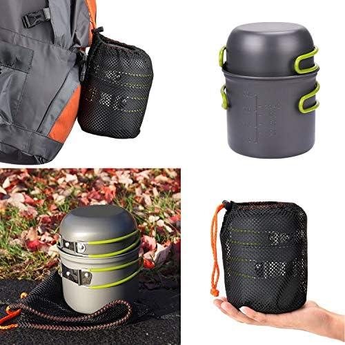 SKYSPER Kit de utensilios de cocina port/átil de aluminio para picnic de barbacoa y senderismo