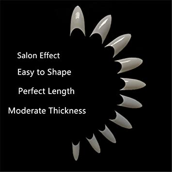 Natural Short Shape Stiletto Nail Tips 500pcs Fake Nails Lady French Style  Acrylic Artificial Tip 10 Sizes for