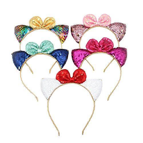 Waldd 5 Pcs Glitter Cat Ears Headband with Dot Bow for Girls Reversible Sequin Girls Headbands Kids Hair Hoop Headwear