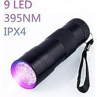 Linterna Ultravioleta Led Linterna UV flashlight 9 LED Ultravioleta Detectar manchas de orina de mascotas Luz negra 395nm luz ultravioleta