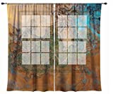 Abstract art sheer drapes, set with two 50''x84'' panels in orange, turquoise and copper, Canyon Sunset
