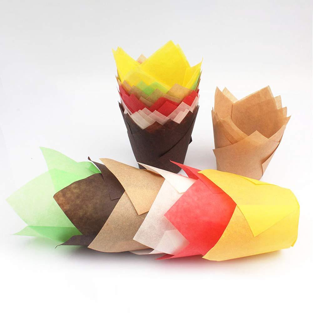 tWUJl4SXJ 50Pcs Tulip Cake Paper Cup Resistente Al Aceite Alta Temperatura Muffin Cake Forro Hornear Cup Holder Paper Paper Kitchen Baking Tools Amarillo