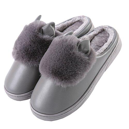 PU oídos de gato algodón zapatillas de casa-Unisexo invierno calentar felpa Botín con los zapatos Gris