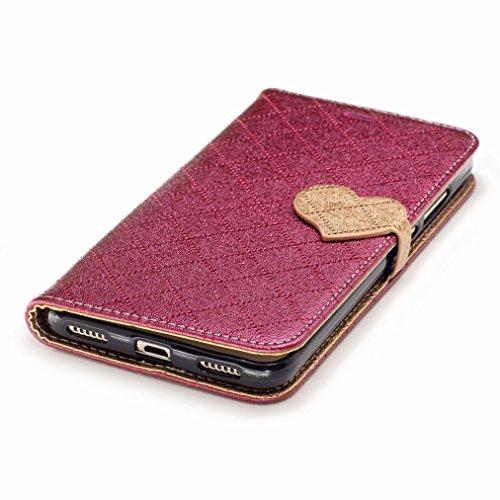 Yiizy Huawei Honor Holly 3 / Huawei Y6 II Custodia Cover, Amare Design Sottile Flip Portafoglio PU Pelle Cuoio Copertura Shell Case Slot Schede Cavalletto Stile Libro Bumper Protettivo Borsa (Rosso)