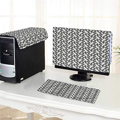 (Computer Cover 3 Pieces Decorations for Home Linear Grid from Striped Elements Pattern Black and Light Grey Antistatic, Water Resistant)