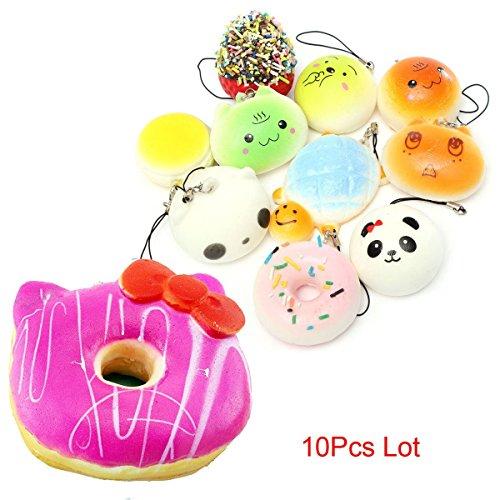 10Pcs Lot Jumbo Hello Kitty+Mini Bread Donut Hello Kitty Macaroon Squishy Straps (Deluxe Red Hair Spray)