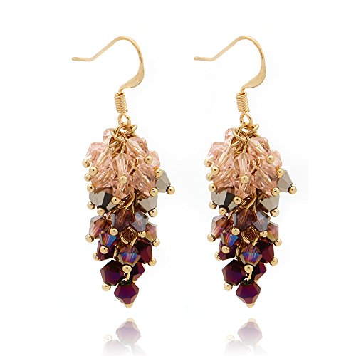 C&L Accessories C&L Colored Cluster Faceted Crystal Beads Dangle Earrings for Women Girls (Mauve)