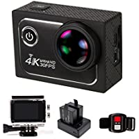 Big 173° Wide Angle Lens Ultra HD Wifi 4K Sport Action Camera Helmet Cam Sony sensor DV Camcorder with Remote Control & 3 Batteries & Waterproof Case