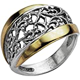 Paz Creations ?925 Sterling Silver and 14K Yellow Gold Lace Ring (9), Made in Israel