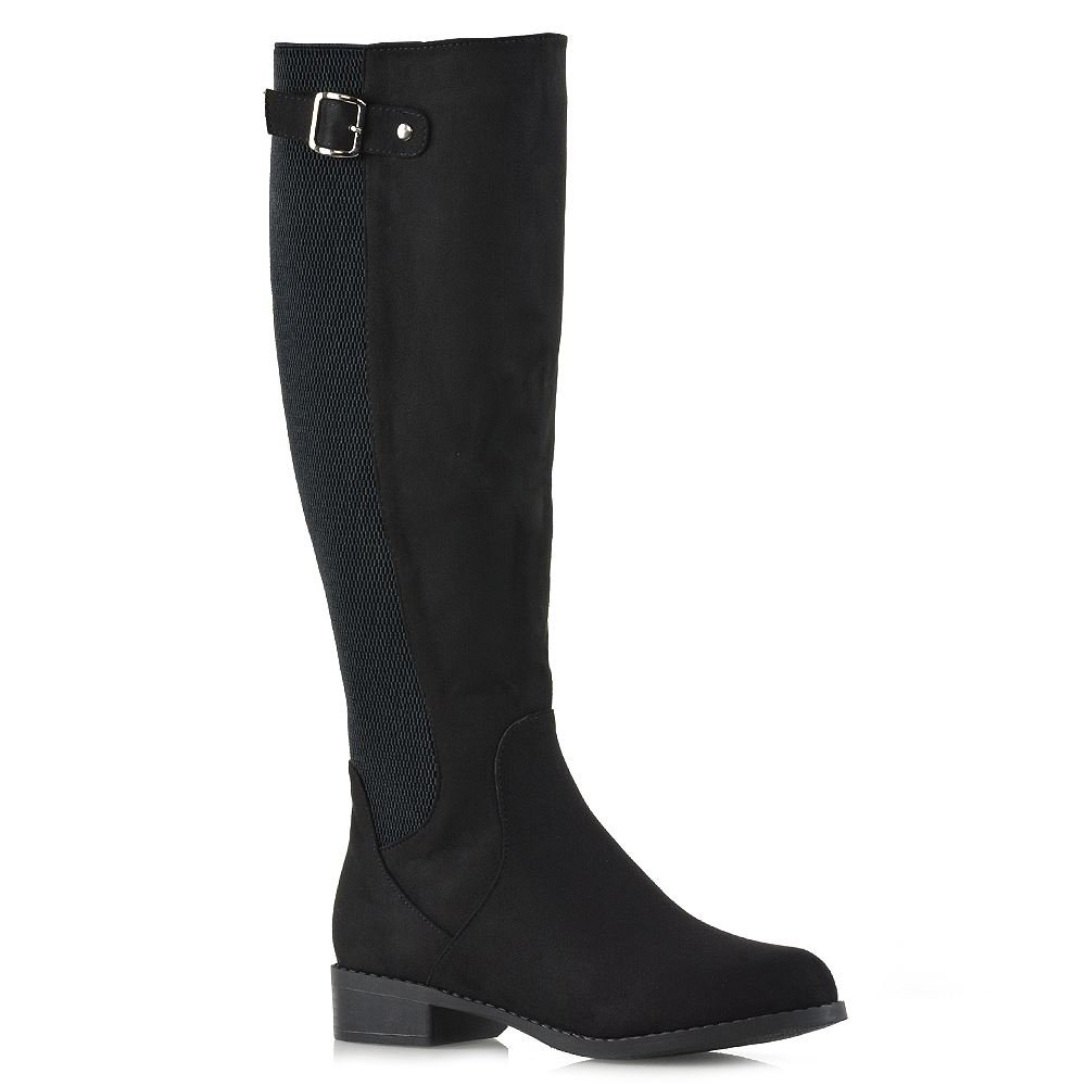 ESSEX GLAM Womens Knee High Boots Black Faux Suede Casual Stretch Low Heel Zip Riding Boots 7 B(M) US