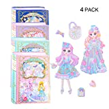 lovielf Girl Princess Bling Puffy Sticker Dress up pad Play Set Activity Book Design: Set of 4 Sheet (4 Magic Theme) Dress-Up - 170+ Reusable Stickers