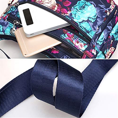 señora para Casual multiposición Bolso Nylon Bolso Crossbody Oscuro de Bolso Bandolera Azul Impermeable OURBAG Mujer Rojo Vino AY0q5