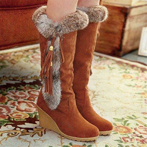 Autumn boots boots big and big tassels high Brown boots r0wxIzrBq