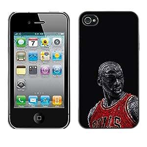 Bull Chicago Basketball Caja protectora de pl¨¢stico duro Dise?ado King Case For iPhone 4 / 4S