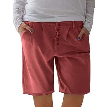 SMILEQ Moda Mujer Pantalones Botones sólidos Pantalones ...