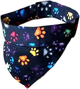 Practical Design K9 Cooler. Reusable Cooling Bandana for Dogs. After Soaking in Water, Bandana Will Expand and Stay Cool for Longer. Black Paws Design