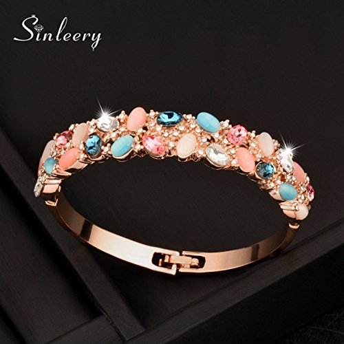 Women Luxury Multicolor Opal Crystal Bracelets Brand Bangle Cuff 18K Rose Gold -