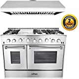 Thor Kitchen 2-Piece Kitchen Package with 48 6 Burner Stainless Steel Gas Range, and 48 Under Cabinet Range Hood In Stainless Steel
