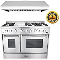 Thor Kitchen 2-Piece Kitchen Package with 48' 6 Burner Stainless Steel Gas Range, and 48' Under Cabinet Range Hood In Stainless Steel