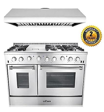 thor kitchen 2 piece kitchen package with 48 6 burner stainless steel gas range - Thor Kitchen
