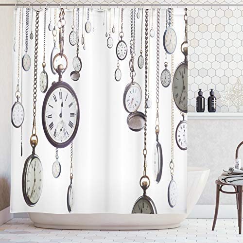 Ambesonne Antique Decor Collection, Many Old Style Pocket Watch on Chain Clocks Chronometer Hours Antique Image, Polyester Fabric Bathroom Shower Curtain Set with Hooks, White Grey Antique White Pocket Watch