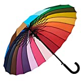 Variety To Go Rainbow Umbrella Large, 24 Ribs Rainbow Umbrella, Rainbow Umbrella for Girls,Men and Women (Hook Handle)