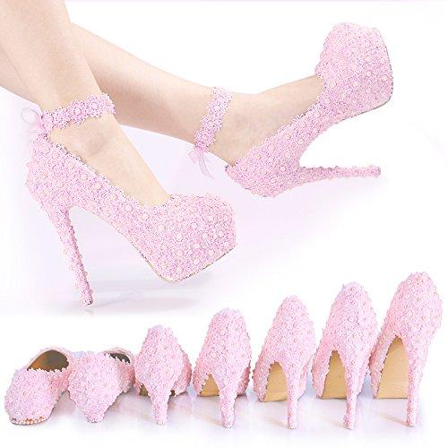ZHANGYUSEN Puntilla Pink Diamond Wedding Shoes, Perla Bridesmaid Handmade Zapatos de Tacón, la Princesa Vestido de Novia Zapatos Banquete de Boda, la Cinta Puntillas y 13cm.