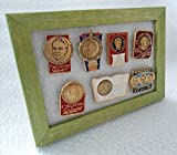 Soviet Space Program 7 set lot Russian USSR Pin Badges Astronauts Cosmonauts Gagarin In light green frame