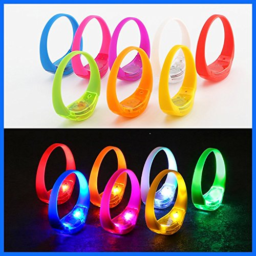 TDL - BRAND Sound Activated Light-Up LED Bracelets Kids Party Pack - 21 bracelets 7 different colors - Reacts to Music Beats and Noise with Flashing LED Strobe