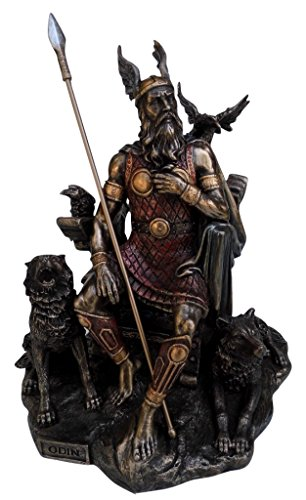Odin Sitting With Wolves And Crows Statue Sculpture, Cold Cast Bronze, 10 1/4 Inch Tall