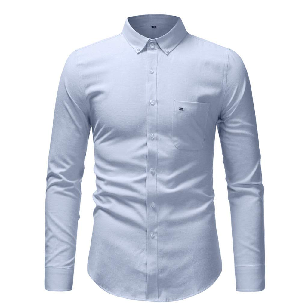 TAGGMY Men Shirts Long Sleeve Solid Color Spring Fashion Casual Slim Fit Button Standing Collar Tops Blouse T-Shirt Blue Small