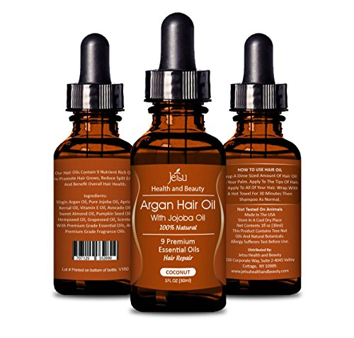 Argan Oil for Hair, COCONUT Scent - Repair Damaged Hair, Daily Hair Moisturizer, 9 Premium Quality Natural Essential Oils, including Jojoba Oil for Hair. FREE easy to use Dropper.