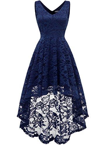(MUADRESS 6666 Sleeveless Hi-Lo Lace Formal Dress Cocktail Party Dress V Neck 2XL)