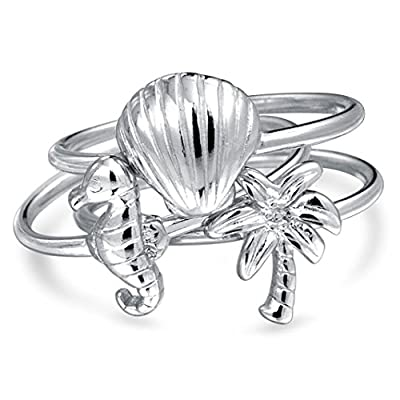 Bling Jewelry Nautical Seahorse Seashell Stackable Midi Ring Set Silver save more