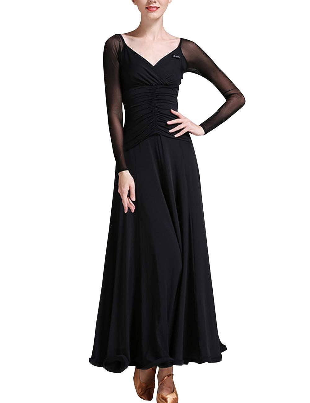 Black Zhhlinyuan Womens Waltz Modern Dance Dress  VNeck Latin Ballroom Dancing Dresses