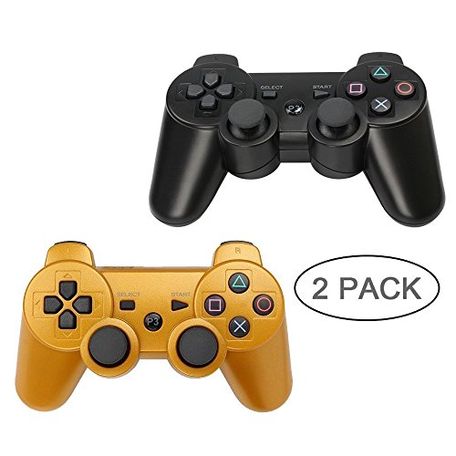 PS3 Controller 2 Pack Wireless Bluetooth 6-Axis Gamepad Controllers for PlayStation 3 Dualshock 3 (Black+Gold)