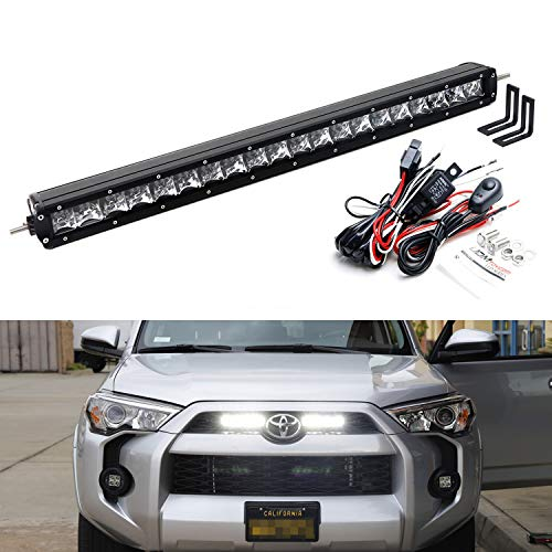 iJDMTOY Behind Upper Grille Mount 20-Inch LED Light Bar Kit For 2014-19 Toyota 4Runner, Includes (1) 100W High Power CREE LED Lightbar, Behind Emblem Mounting Brackets & On/Off Switch Wiring Kit