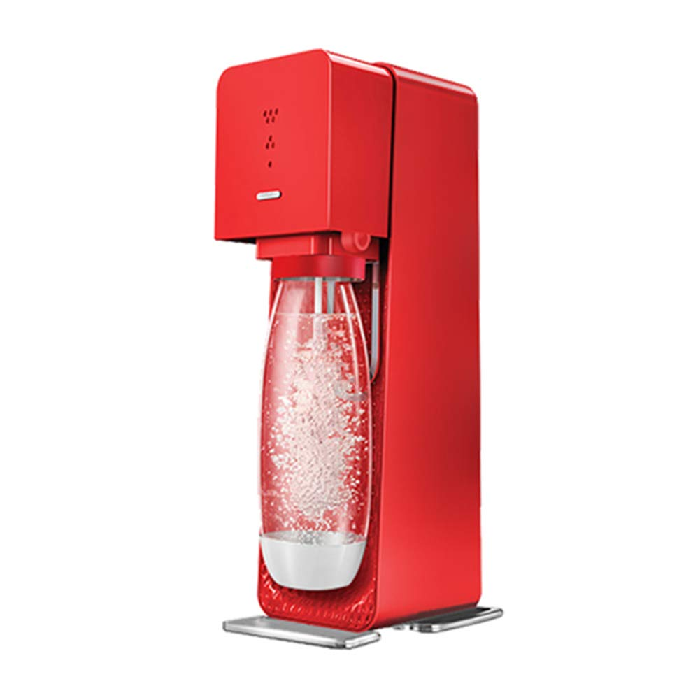 HOPELJ Sparkling Water Maker, Soda Sparkling Water, ABS Housing Including 2 PET Bottles, Compatible with CO2 Cylinder, Manufacturers of Mineral Water Drink Machines for Home Tea Shop Use,Red