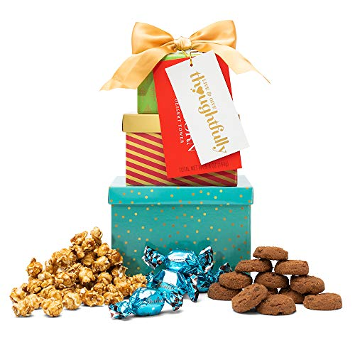 The Mini Cookie, Truffle, and Popcorn Tower from Thoughtfully | Includes Milk Chocolate Truffles, Chocolate Peppermint Cookies, and Caramel Popcorn