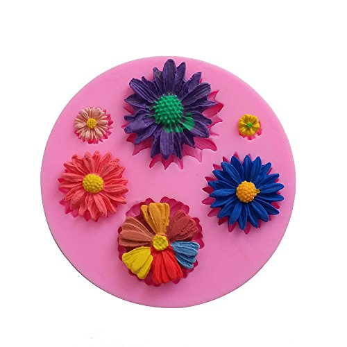 Botrong Small chrysanthemum Turning sugar silicone mold 3D Flower Cake Chocolate Mould Modelling Decorating Tool