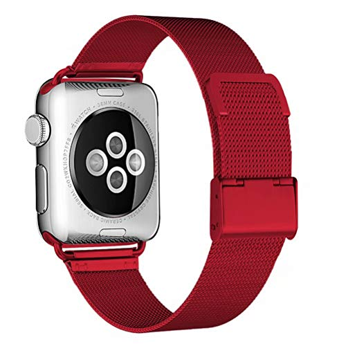 HILIMNY Compatible for Apple Watch Band 38mm 40mm, Stainless Steel Mesh Sport Wristband Loop with Adjustable Magnet Clasp for iWatch Series 1/2 / 3/4, Red
