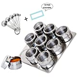 9 Spice Jar Stainless Steel Finished- Kuty Stainless Steel Magnetic Spice Rack on