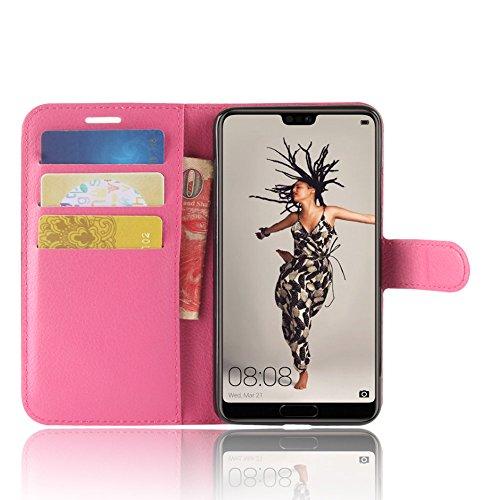 Huawei P20 Funda, Moonmini Ultra Delgada Libro Caso Flip Folio Funda de cuero PU Billetera Ranura de Tarjeta de Crédito Caja antirayas a prueba de choques del teléfono con Cierre Magnético y función d Rosa caliente