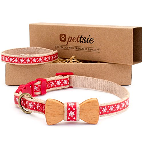 Christmas Cat Collar - Pettsie Cat Collar Bow Tie with Breakaway Safety and Friendship Bracelet for You, Durable 100% Cotton for Extra Safety, D-Ring for Accessories, Comfortable and Soft, Adjustable 8-11 Inch Red