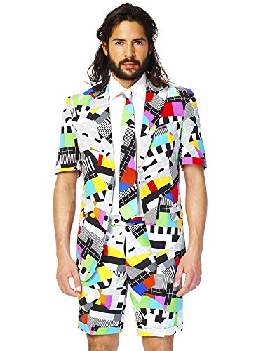 OppoSuits Men's Summer Suit - Testival - Includes Shorts, Short-Sleeved Jacket & Tie