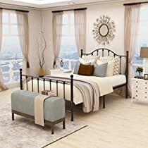 Queen Size Metal Bed Frame Mattress Platform Foundation with Headboard Iron Beds Heavy Duty Steel Slats Box Spring Replacement Light Brown …