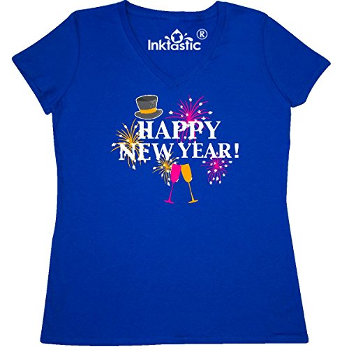 inktastic Happy New Year with Women's V-Neck T-Shirt XX-Large Royal Blue 2da36
