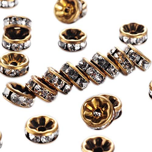 - PH PandaHall 200pcs 1.5mm Brass Rhinestone Spacer Beads Crystal Straight Rondelle Beads Charm Antique Bronze Metal Beads Supplies for Crafts Jewelry DIY Making