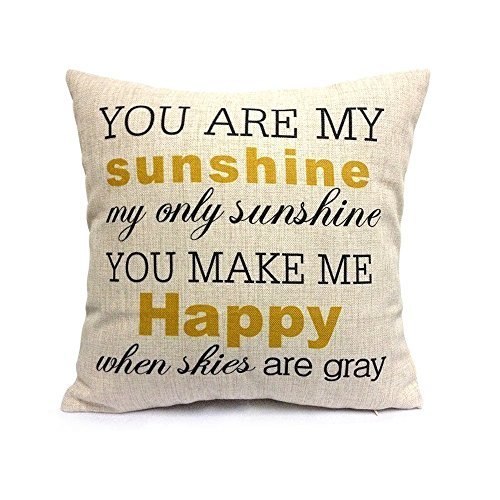 Vanki Cotton Linen Cushion Cover Throw Pillow Case Inspirational Quotes - You are my sunshine